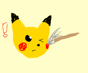 Pikachu Attacked by Paintbrush