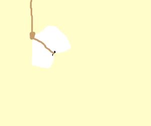 A marshmallow hanged itself