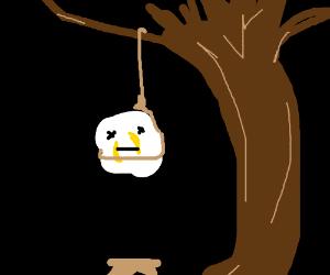 Popcorn hangs itself