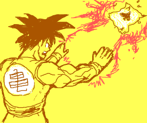 DragonBall Z's Goku blows the Ace of Spades aw