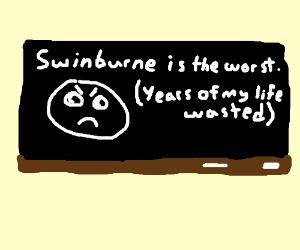 A brief sentence written on a blackboard