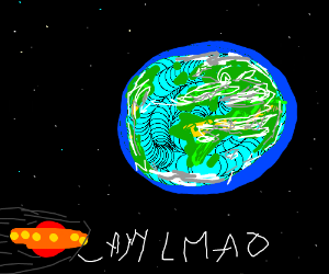 Alien laughs at the earth