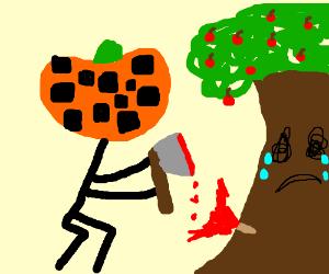 Checkered Pumpkin Chops Down Cherry Tree