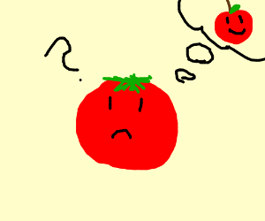 A confused tomato thinks she is an Apple