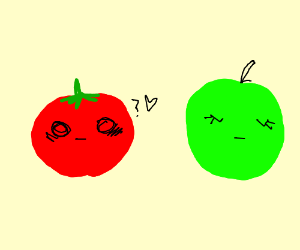 Confused tomato attracted to an apple