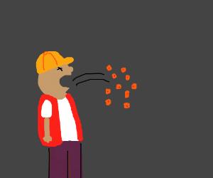 Construction worker vomiting Cheez-Its