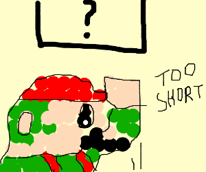 Mario is too short to hit the ? block.