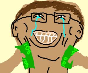 Bill gates rubbing money all over his body