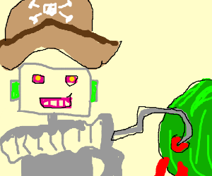 pirate robot soils his hook on a bloody melon