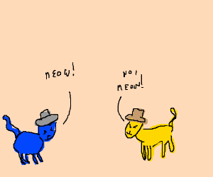 Blue cat and yellow cat w/hat arguing