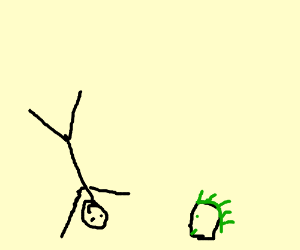 stickman doing a cartwheel next to a head