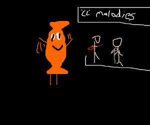 An orange sweet dances to the 'cc' melodies.