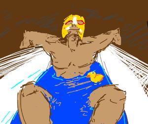 Luchador in a bathtub