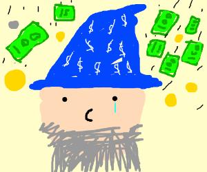 Insanely rich wizard sheds a tear