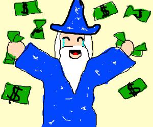 Wizard has tears of joy from raining money