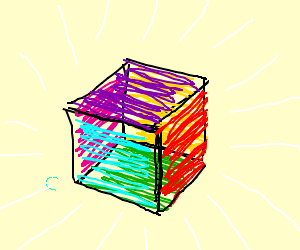 Glowing colorful cube.