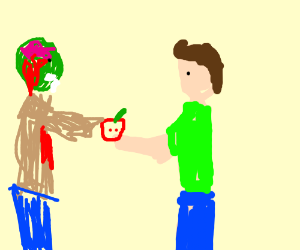 Person offers zombie an apple