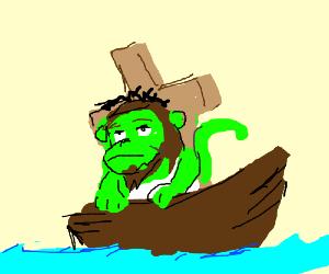 A green jesus monkey on a boat on a windy day
