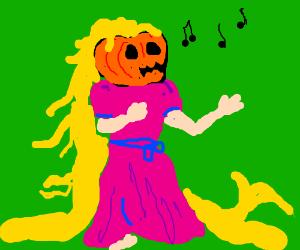 Rapunzel with a jack-o-lantern head singing.