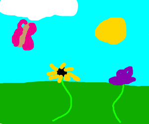 Two flowers and flying butterfly with blue sky