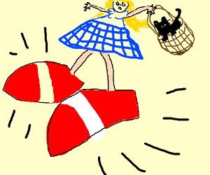 Dorothy wears Sonic's shoes