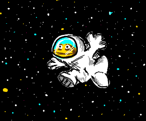 Buff frog in a space suit.