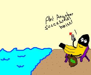 Banana thief relaxes on the beach
