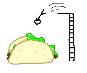 guy diving into a giant taco