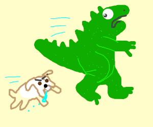 Godzilla runs from bulldog