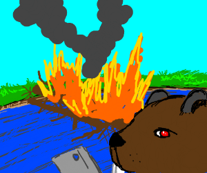 Beaver sets his dam on fire