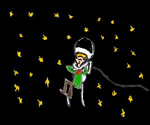 Spaceman kills an elf by hugging him