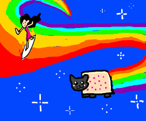 A girl surfs on Nyan Cat's Rainbow