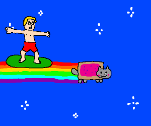Surfer surfs in nyan cats rainbows