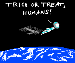 alien trick or treaters at the ISS