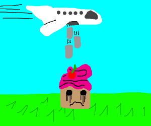 plane drops nuclear bomb to pink sad muffin