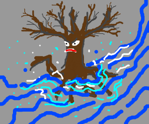 A spooky tree is caught in a flood.