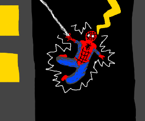 Spiderman gets struck by lightning.