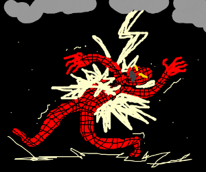 Spider-man struck by lightning