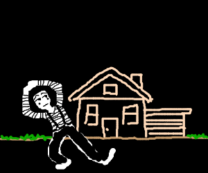 Mime in front of a house