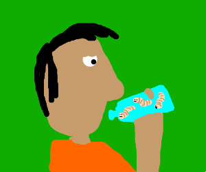 Guy without a mouth eating worms from a bottle