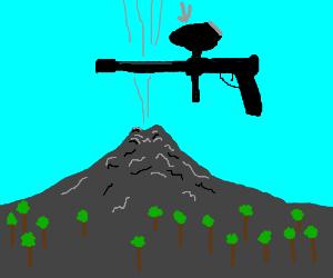 A volcano shoots a paintball gun into the sky