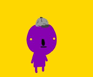 purple dude with weird headwear