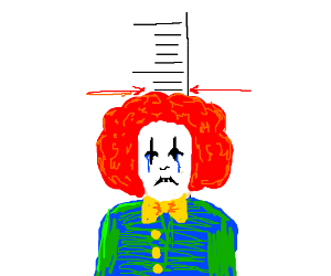The depressed clown was this high