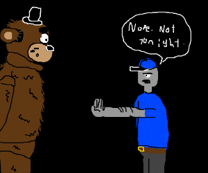 Scruffy bear is denied entrance