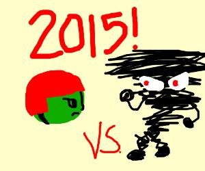 2015: green head in helmet faces tornado perso