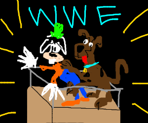 Goofy vs Scooby Doo in the wrestling arena