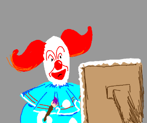 Bozo the Clown is painting.