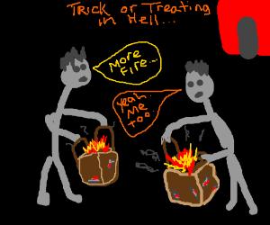 A paper bag full of fire