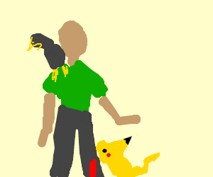 falconer gets bit on leg by Pikachu