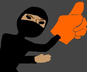 ninja with foam finger